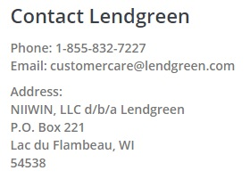Lendgreen contact section