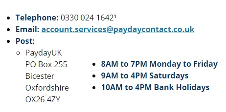 paydayUk contacts