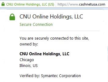CashNetUSA secure connection