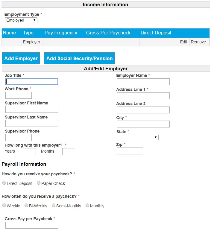 iSpeedy Loans application form