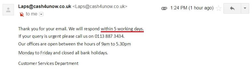 Cash4uNow customer support