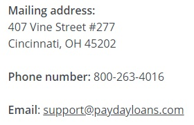 paydayloans.com contacts